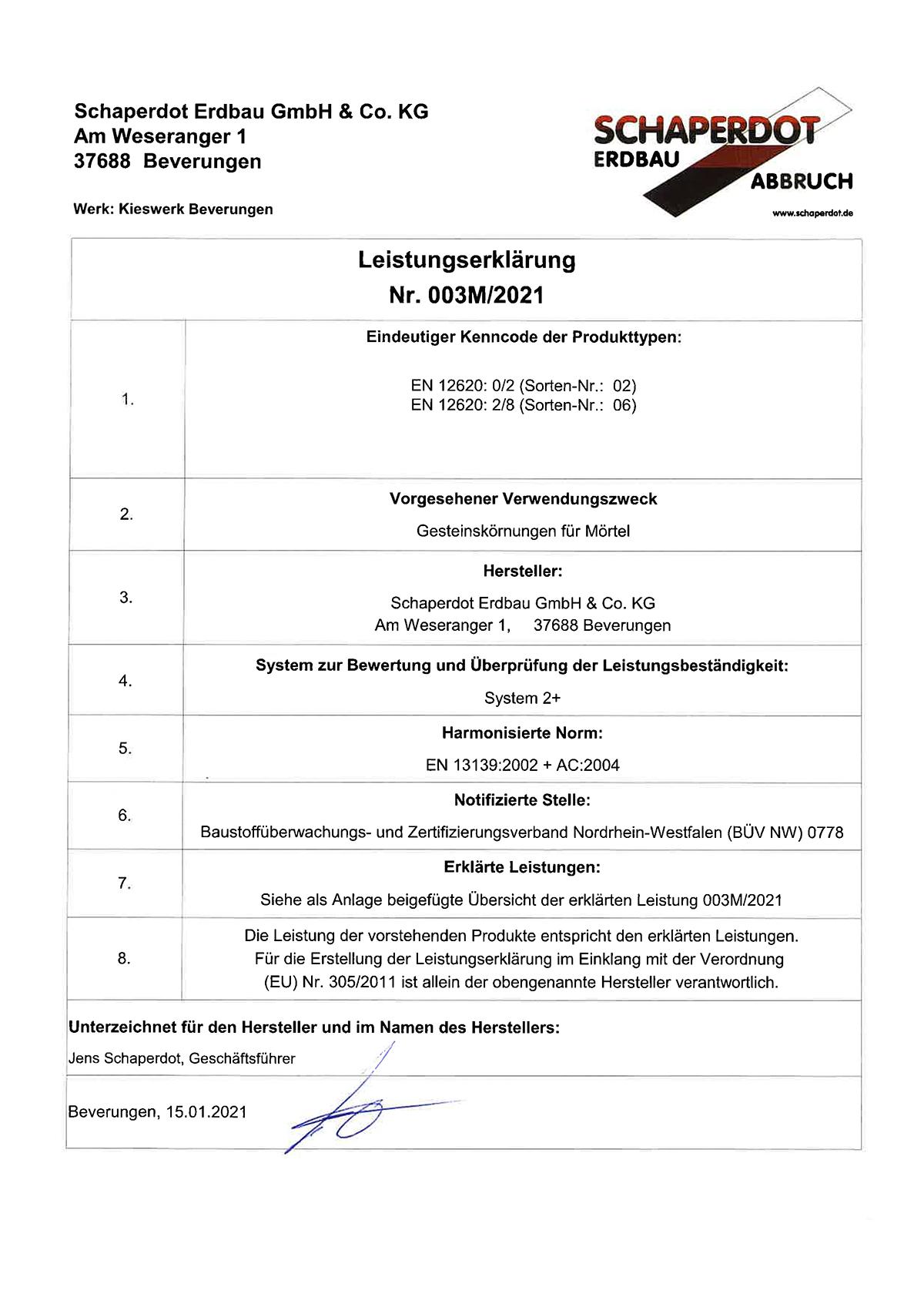 Leistungserklärung 003M 2021